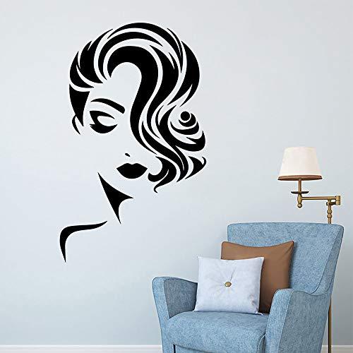 BailongXiao Mujer salón de Belleza Mural Pegatina de Pared Vinilo Impermeable decoración del hogar casa Pared Pegatina Papel Pintado