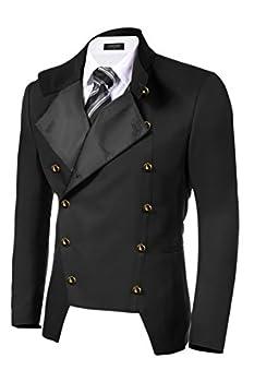 COOFANDY Men s Casual Double-Breasted Jacket Slim Fit Blazer  Medium Black(FBA)