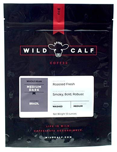 Wild Calf Coffee, 12 oz, Specialty-Grade Coffee Beans, Roasted, Whole Bean, Medium-Dark, Single-Origin Brazil, Washed Process, 421F
