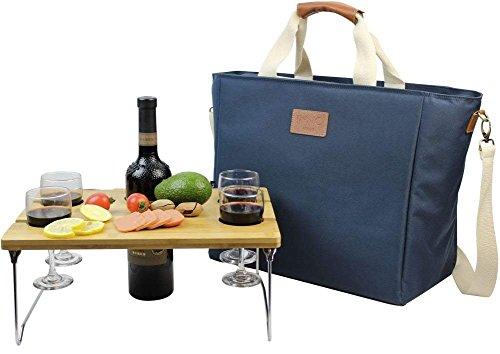 INNO STAGE Bolsa térmica grande con aislamiento de 40 l, bolsa de transporte de vino, bolsa de picnic con mesa portátil de bambú para aperitivos, color azul marino