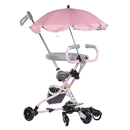 ZHIJINLI Slip Baby Artifact Baby Stroller God Artifact has a guardrail Tricycle Baby Hand Push Umbrella Car Pink High with Flash Wheel