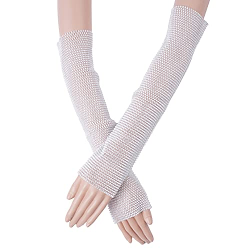 FEESHOW Womens Glitter Rhinestone Fingerless Fishnet Gloves 80s Arm Sleeves Dress-Up Party Costume Accessories White&Rhinestone One Size