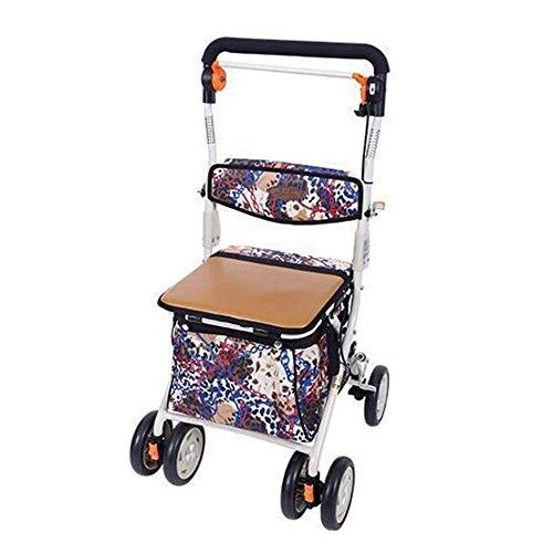 yjll Aluminium Vierwielige Rollator Walking Aid, Seat En Winkelmandje, Verstelbare Hoogte, Licht En Veilig Ontwerp, Brakelever