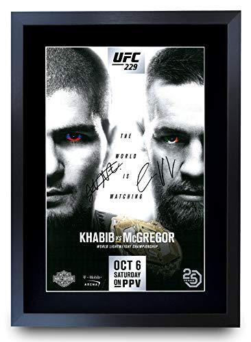 HWC Trading UFC 229 Fight Khabib Nurmagomedov vs Conor McGregor Geschenke, signiertes Autogramm, gerahmt, A3