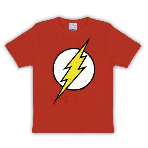 licencia de DC Comics Camiseta para niños letra grande logotipo de flash en la parte delantera impresión de calidad material blando pero resistente color rojo