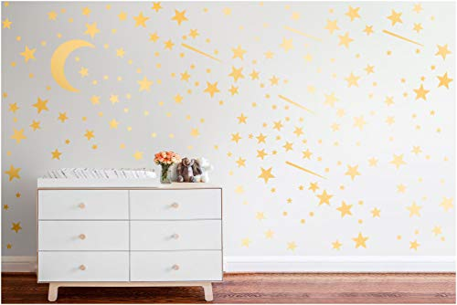 PapaKit Twinkle Little Stars & Moon Wall Decal (Champagne Gold, 200 Assorted Stickers) Baby Nursery Child Kid Teen Girl Boy Room Home Decor   Creative Art Design Pattern   Safe Removable Adhesive