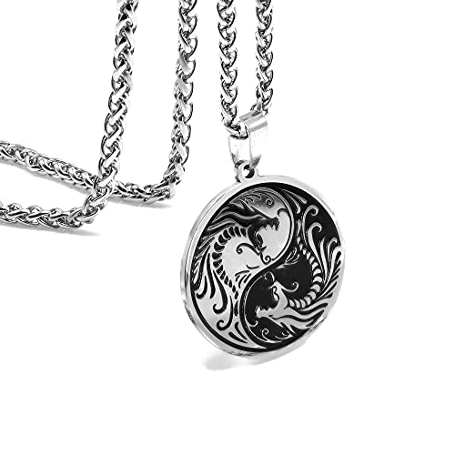 Dragon Yin Yang Necklace for Men - Jewelry Stainless Steel Amulet Pendant Necklace With Gift Box (Stainless Steel)