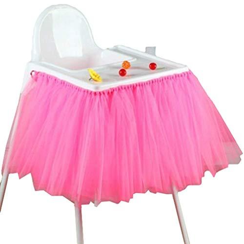 Mesa De Comedor De La Fiesta Cumpleaños Clásico De Falda De Tul Baby Shower Decoración Silla Trona Tutu Tutu Deco Azul Plata Rojo Rosa Violeta Blanco Negro Oro