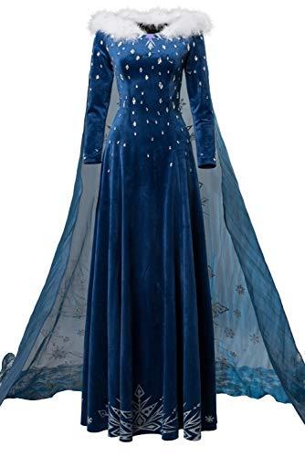 Karnestore Prinzessin ELSA Kleid Cosplay Kostüm Blau Damen XL