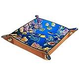 Bandeja del valet del almacenamiento del escritorio, almacenamiento plegable de cuero de la joyería de la bandeja Pez acuario para escritorio, oficina, llave, joyería