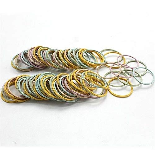 Ydzs 100 piezas de Girl pelo de los anillos fluorescente cuerda Accesorios for el cabello de color Cola de caballo de goma de pelo cuerda de alta elástico principal del pelo de la cuerda for niñas Acc