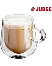 Judge JDG35 Double Walled Glass Coffee Cups with Handle, Set of 2 Hollow Vacuum Sealed, Hand Made, Heat Resistant, Dishwasher Safe, 275ml Latte Cup