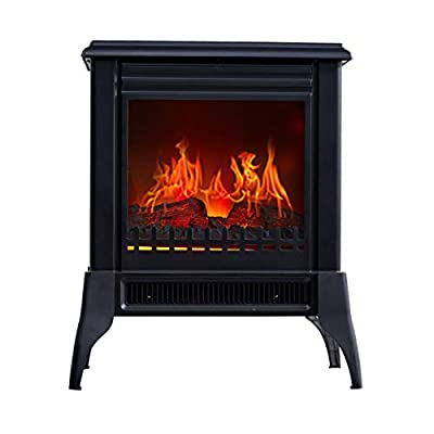 Electric Fire With Surround Freestanding Electric Fireplace Heater Living Room Floor Standing Safety Cut-Out System With Realistic Flame Effect