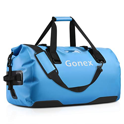 Gonex 60L Extra Large Waterproof Duffle Travel Dry Duffel Bag Heavy Duty Bag with Durable Straps & Handles for Kayaking Paddleboarding Boating Rafting Fishing Light Blue