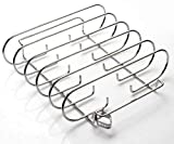 Rib Rack Stainless Steel – 6-Rib Capacity! Integrated Temperature Probe Holder - Never Risk Burnt Ribs Again! 100% Food-Safe, Non-Magnetic Stainless Steel – Easy Clean-up and Coating-Free!
