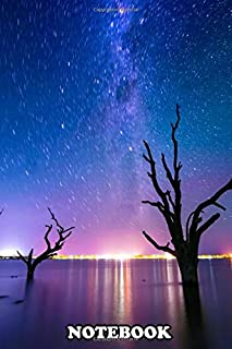 Notebook: Star Trails Over Lake Bonney In South Australia , Journal for Writing, College Ruled Size 6
