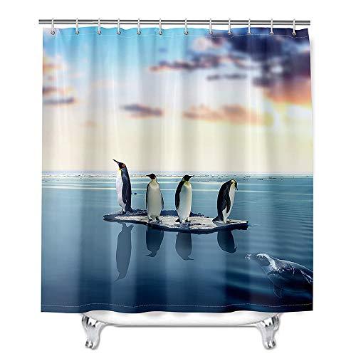 Hiser Duschvorhang aus Polyester Wasserdichter, Waschbare Duschvorhänge mit 12 Duschvorhangringen, 3D Pinguin Druck Badewannevorhang für Badezimmer (Schutz,90x180cm)