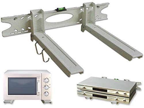 DRALL INSTRUMENTS Universal Mikrowellen Befestigung - ausziehbar bis 52 cm - Halter für Minibackofen Grillofen Kaffeeautomaten - Befestigung für Pizza-Ofen Küchenregal Silber Modell: H75S