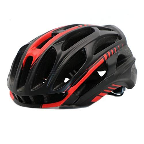 Casque Velo YDHWWSH Couverture De Casque De Vélo avec Les Lumières LED MTB Mountain Road Bike Helmet Hommes 57-63cm Rouge Noir L