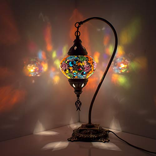 Lámpara de mesa, cuello de cisne, lámparas de mosaico árabe, farol marroquí, lámpara de techo, lámpara de techo, iluminación de mosaico, luz para suelo
