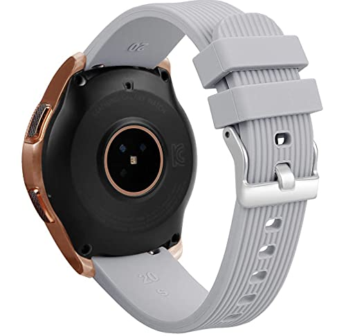 Pulseira silicone texturizada Samsung Galaxy Watch Active 2 , 40mm , 44mm - Gear S2 Classic - Gear Sport R600 - Galaxy Watch 42mm - Amazfit Bip - 20mm (Cinza)