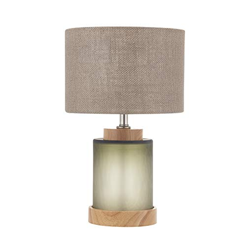 Handmade Glass Table Lamp for Bedroom.Original Clift Color,Vintage Style Frosted Artglass Base with Drum Gunny Fabric Shade (Cream)