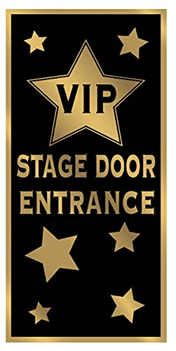 Beistle VIP Stage Entrance Door Cover, Black/Gold, One siz