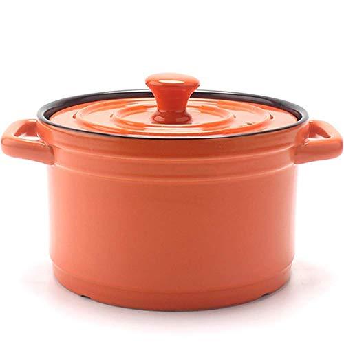 ido Ceramic casserole with lid, 4l slow cooker round Dutch oven, orange in healthy non-stick ceramic 4l