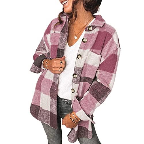 YiKun Womens Casual Flannel Wool Blend Plaid Lapel Button Down Long Sleeve Shacket Jacket Coat Winter Loose Oversize Shirts,Pink,Medium