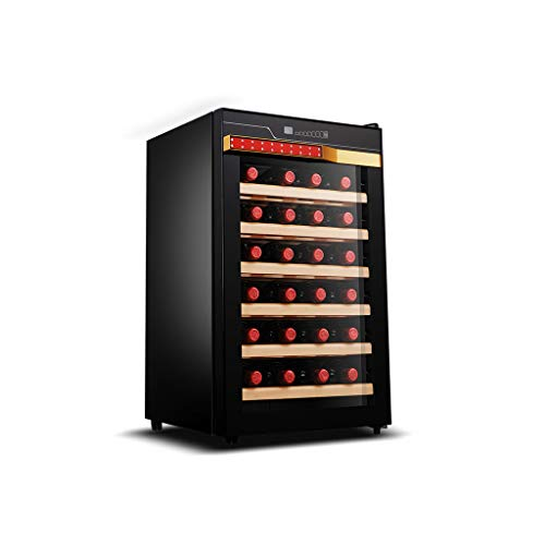 even Refroidisseur/Refroidisseur de vin de 28 Bouteilles - Opération silencieuse Réfrigérateur à vin Réfrigérateur de Cave à vin sur Pied, système de Refroidissement Efficace
