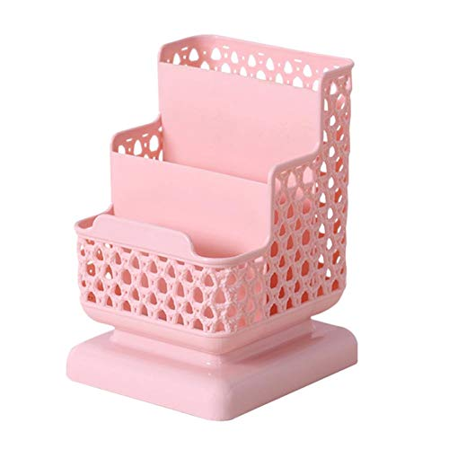 JIANWEI Caja De Almacenamiento Creativo Soporte De Maquillaje Pincel De Plástico Contenedor De Plástico Organizador De Escritorio Lindo Cosméticos Compartimiento De Lápiz Labial (Color : Pink)