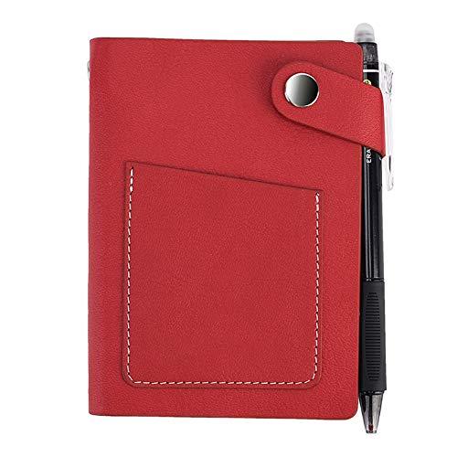 Zhuowei Mini Smart Löschbare Notebook Mit Feder, Tragbare Wiederverwendbare Vintage-Lederimitat-Notebook Unbegrenzt Wiederverwendbares Notizbuch - Inklusive Pilot Stift and Mikrofasertuch,4