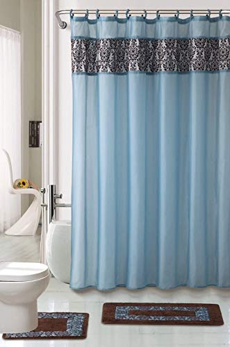 WPM 4 Piece Luxury Majestic Flocking Blue Bath Rug Set/ 2 Piece Bathroom Rugs with Fabric Shower Curtain and Matching Rings