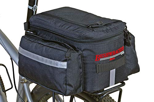 Bushwhacker Mesa Trunk Bag Black - w/Rear Light Clip Attachment & Reflective Trim - Bicycle Trunk...