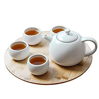 Simple Elegant and Delightful Teapot and Cups Modern White Ceramic Tea Set 20 oz Include 1 Pot 4 Cups and 1 Bambo Tray (5, Bamboo)