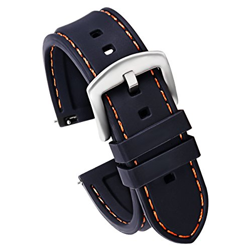 22mm Quick Release Silicone Watch Strap for Watches and Smartwatches Replacement Watch Band Black(Orange Stitching Silver Buckle)