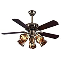 5色のガラスランプと軽いレトロな天井ファンライト、家庭用リビングルームのためのシャンデリア、42インチの天井のファン リビングルームベッドルーム(カラー:ブラウン) WULOVEMI (Color : Brown)