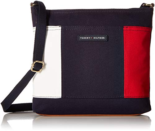 Tommy  Hilfiger  womens  Crossbody for Women TH Flag Canvas, Navy, One Size