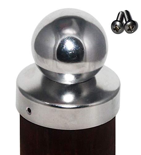 Pfostenkappe rund Edelstahl mit Kugel für Rundpfosten 8 cm, inkl. VA-Schrauben