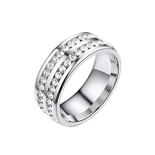 Swide Anillo magnético Anillo de Diamante de Doble Fila de Diamante de Enfoque reducido de Acero Titanio Upgrade