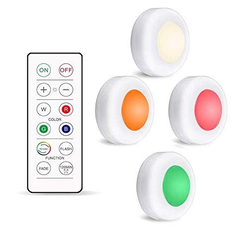 Nachtlicht 16 Farben Unter Schrankleuchten Dimmbare Led-Puck-Nachtlichter Tragbare Schrank-Küchenschranklampen Mit Fernbedienung Und Touch-Steuerung 1Controller4Lamp