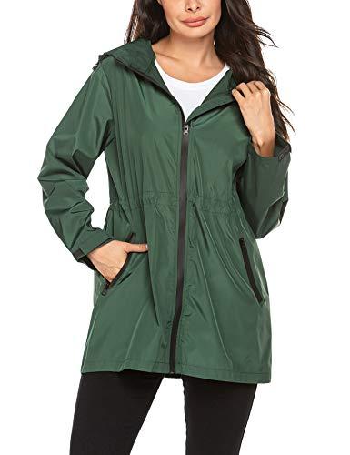Bricnat Regenjacke Damen Atmungsaktiv Windbreaker Leichte Regenmantel Wasserdicht Übergangsjacke Lange Kapuzenjacke Armee grün