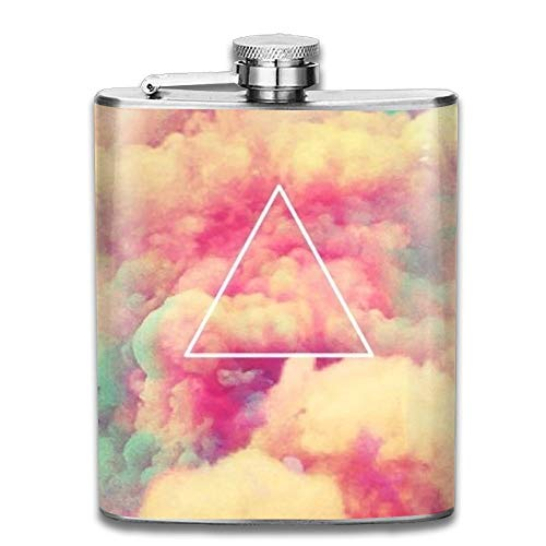 Stainless Steel Hip Flask 7 Oz (No Funnel) Colorful Cloud Triangle Full Printed