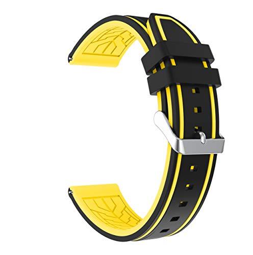 Fmway Repuesto de Correa Reloj 22mm de Silicona para Samsung Galaxy Watch 46mm / Gear S3 Frontier/Gear S3 Classic/Moto 360 2. Generation 46mm, Hombre y Mujer (Negro + Amarillo)