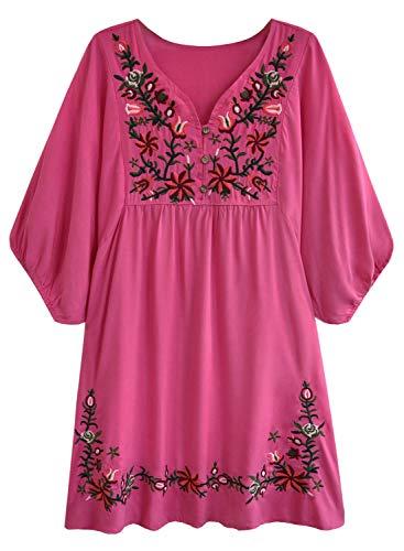 FUTURINO Damen Sommerkleid Bohemian Stickerei Floral Tunika Shift Bluse Flowy Minikleid,02 Hot Pink,S
