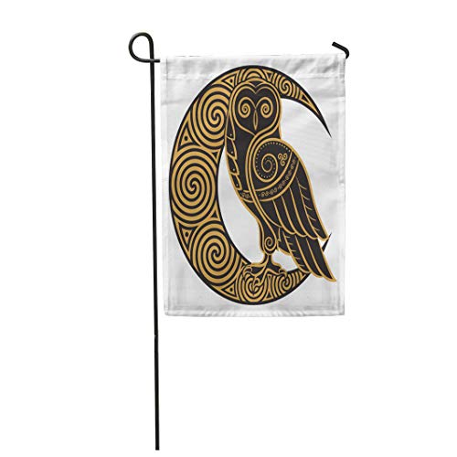 Semtomn 28'x 40' Garden Flag Knot Owl in Celtic of The Moon White Magic Pagan Home Outdoor Decor Double Sided Waterproof Yard Flags Banner for Party