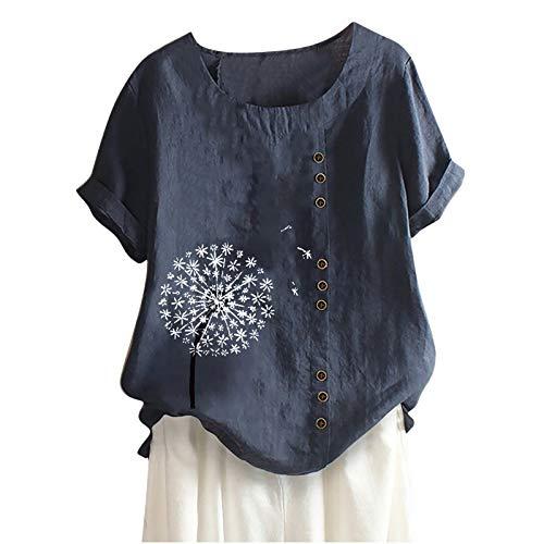 Camisetade Mujer Estampado de Flores de Diente de LeóN Talla Grande AlgodóN Y Lino Botón Vertical de Mujer T-Shirt Manga Corta Deportivo Tops Mujer Blusa