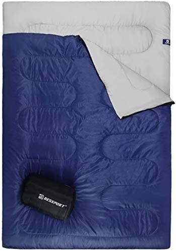Bessport Camping Sleeping Bag, Single & Double Sleeping Bag 3 Season Warm & Cold Weather for Adults/Kids, Waterproof & Lightweight for Hiking, Backpacking with Carrring Bag (2 Person Blue)