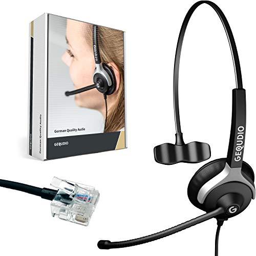 GEQUDIO Headset kompatibel mit Unify OpenStage 30 40 60 80 und OpenScape Serie Telefon - inklusive RJ Kabel - Kopfhörer & Mikrofon mit Ersatz Polster - besonders leicht 60g (1-Ohr)