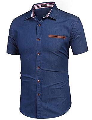 COOFANDY Men's Casual Cotton Short Sleeve Fashion Denim Shirts